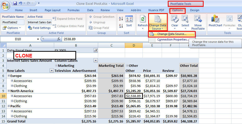 Change Field Names in Pivot Table Source Data Excel