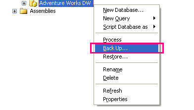 Figure 1 - Backup Option from Management Studio