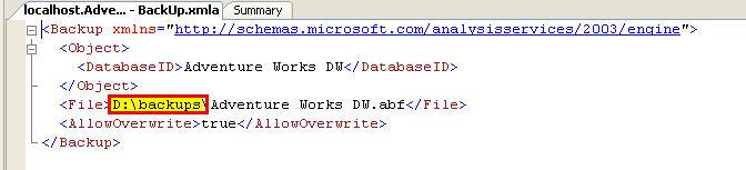 Figure 3 - Backup XMLA script