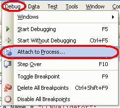 Figure 3 - Attach Debugger to Process