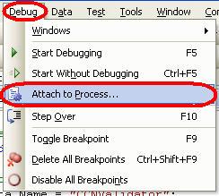 Figure 3 - Attach Debugger to Process