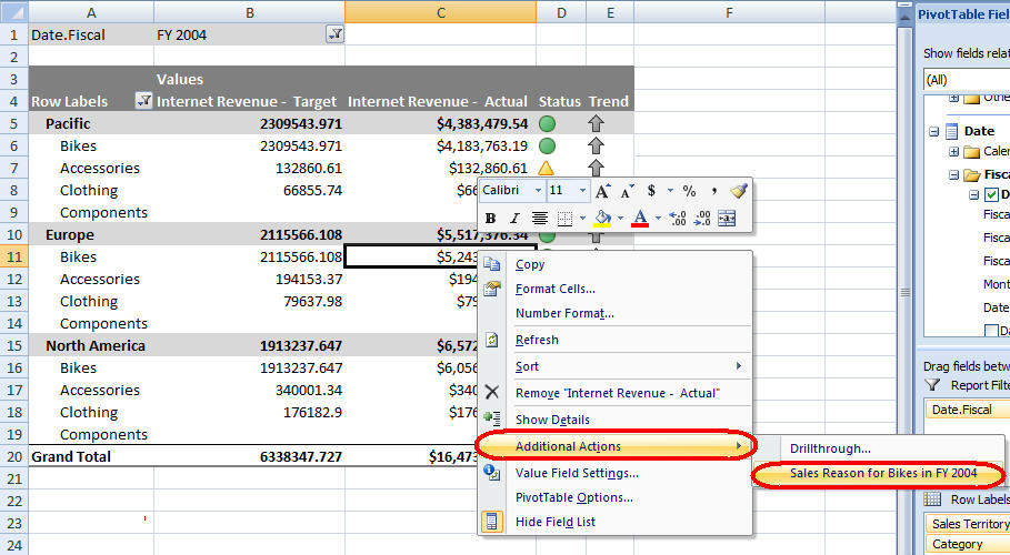 Pivot Table Sourced From Cube