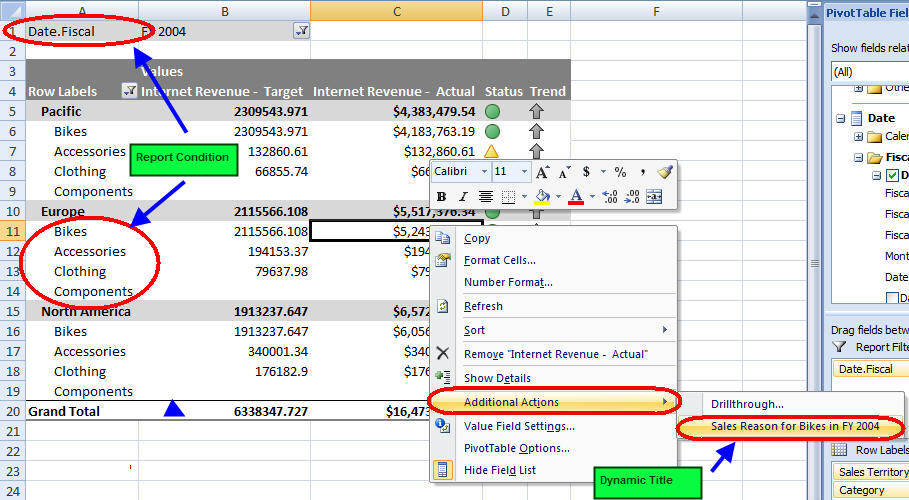 Figure 2 - Pivot Table Illustrating Reporting Action