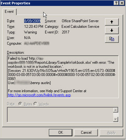 Figure 2 - Application Log Entry