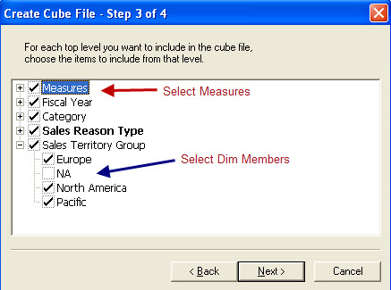 Figure 4 -Select Measures and Dim Members