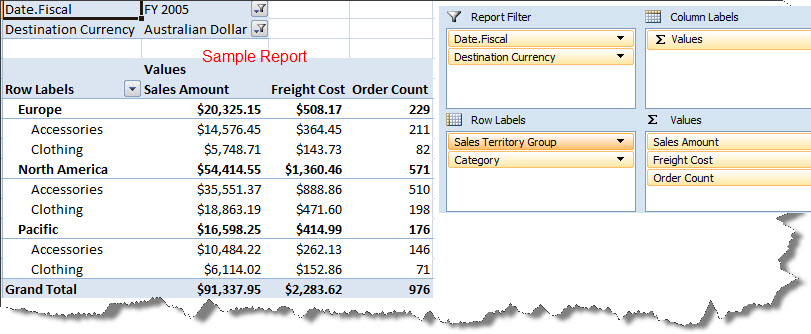 Screen Capture 1- Pivot Table Report