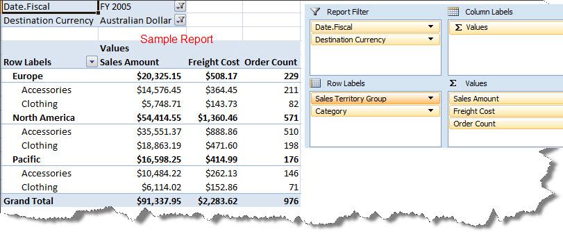 Screen Capture 1- Pivot Table Report