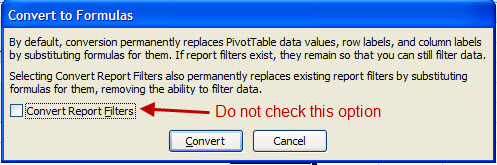 Screen Capture 3 - Do not Convert Report Filters
