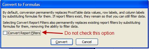 Screen Capture 3 - Do not Convert Report Filters