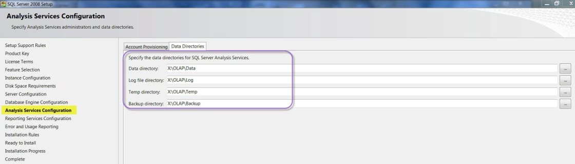 Figure 1 - Pre-Installation Options for Analysis Services in SQL Server 2008