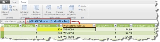 Screen Capture 2 - Product Business Key Using RELATED()