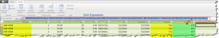 Screen Capture 3 - Type 2 SCD lookup Using DAX  Expression