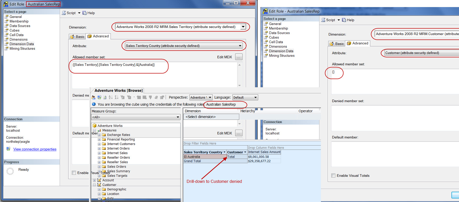 Screen Capture 4 - Australian SalesRep Role with no access to Customer Data