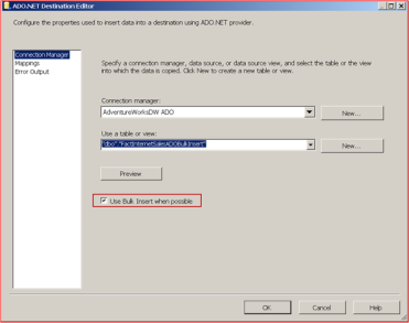 SSIS: ADO NET Destination in Bulk Insert Mode and Foreign